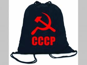 CCCP ľahké sťahovacie vrecko ( batôžtek / vak ) s čiernou šnúrkou, 100% bavlna 100 g/m2, rozmery cca. 37 x 41 cm