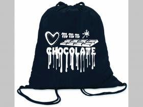 Chocolate ľahké sťahovacie vrecko ( batôžtek / vak ) s čiernou šnúrkou, 100% bavlna 100 g/m2, rozmery cca. 37 x 41 cm