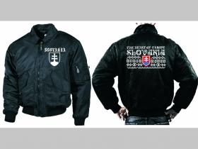 """Slovakia  motív """"čičmany""""čierna zimná letecká bunda BOMBER Winter Jacket s límcom, typ CWU z pevného materiálu s masívnym zipsom na zapínanie 100%nylón,vodeodolná"""