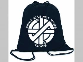 Crass ľahké sťahovacie vrecko ( batôžtek / vak ) s čiernou šnúrkou, 100% bavlna 100 g/m2, rozmery cca. 37 x 41 cm