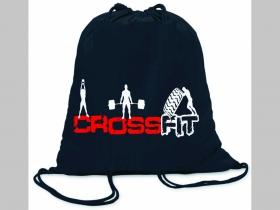 Crossfit ľahké sťahovacie vrecko ( batôžtek / vak ) s čiernou šnúrkou, 100% bavlna 100 g/m2, rozmery cca. 37 x 41 cm