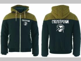 Crust Punk zimná pánska bunda zateplená čierno-olivová s kapucňou