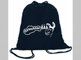 Demokracia ľahké sťahovacie vrecko ( batôžtek / vak ) s čiernou šnúrkou, 100% bavlna 100 g/m2, rozmery cca. 37 x 41 cm