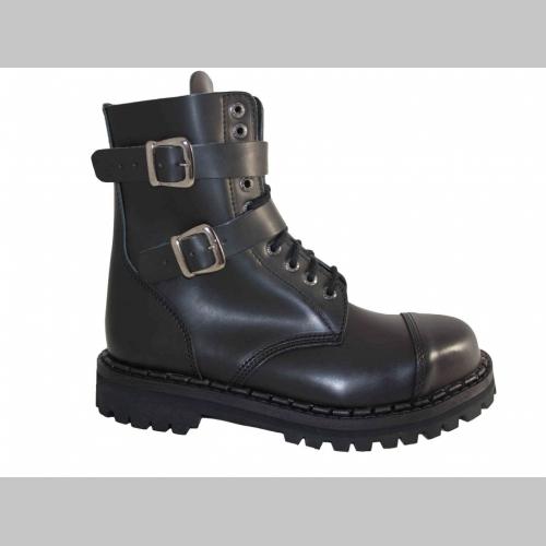 834b52b37c50c Kožené topánky Steadys čierne 10.dierkové s prešívanou oceľovou ...