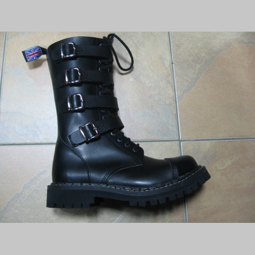 476424d2673a9 Kožené topánky Steadys 15.dierkové s prešívanou oceľovou špičkou a prackami  čierne