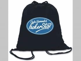 ČeskoSlovenská Fuckerstar  ľahké sťahovacie vrecko ( batôžtek / vak ) s čiernou šnúrkou, 100% bavlna 100 g/m2, rozmery cca. 37 x 41 cm