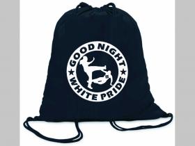 Good Night White Pride  ľahké sťahovacie vrecko ( batôžtek / vak ) s čiernou šnúrkou, 100% bavlna 100 g/m2, rozmery cca. 37 x 41 cm