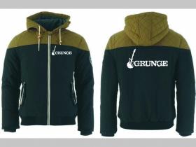 Grunge zimná pánska bunda zateplená čierno-olivová s kapucňou