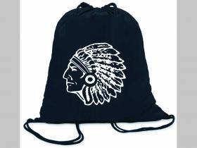 indián ľahké sťahovacie vrecko ( batôžtek / vak ) s čiernou šnúrkou, 100% bavlna 100 g/m2, rozmery cca. 37 x 41 cm