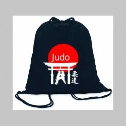 Judo ľahké sťahovacie vrecko ( batôžtek / vak ) s čiernou šnúrkou, 100% bavlna 100 g/m2, rozmery cca. 37 x 41 cm