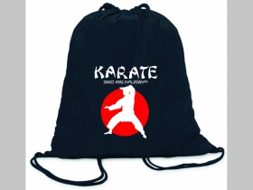 Karate ľahké sťahovacie vrecko ( batôžtek / vak ) s čiernou šnúrkou, 100% bavlna 100 g/m2, rozmery cca. 37 x 41 cm