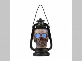 Dekoračná stolová lampa v tvare olejovej lampy s lebkou materiál polyresin,  farba svetla fialovomodrá rozmery 14x7,5x6,5cm