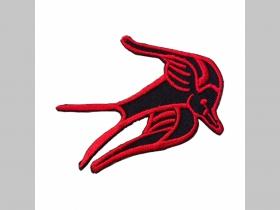 lastovička - Swallow menšia nažehľovacia vyšívaná nášivka (možnosť nažehliť alebo našiť na odev)  rozmery cca. 7,5x5cm