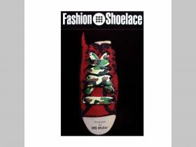 maskáčové tenšie šnúrky s motívom woodland, ploché šnúrky do topánok dĺžka 114cm šírka 1cm materiál:100%polyester