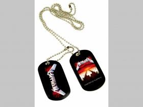 """Metallica plastový prívesok na krk """"Dog Tag"""" s dvomi známkami a s dvomi farebnými motívmi"""