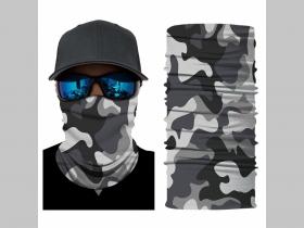 metro maskáč čierno-šedo-biely univerzálna elastická multifunkčná šatka vhodná na prekritie úst a nosa aj na turistiku pre chladenie krku v horúcom počasí