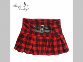 minisukňa červenočierne káro elastický pás, minimálny obvod 58cm maximálny obvod 92cm materiál 95%bavlna 5%spandex