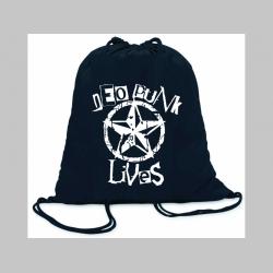 Neopunk Lives ľahké sťahovacie vrecko ( batôžtek / vak ) s čiernou šnúrkou, 100% bavlna 100 g/m2, rozmery cca. 37 x 41 cm