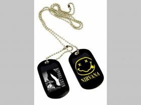"""Nirvana Dvojitý plastový prívesok na krk """"Dog Tag"""" s dvomi známkami a s dvomi farebnými motívmi"""