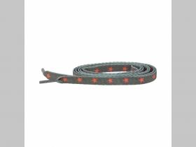 olivové tenšie šnúrky s motívom červená hviezda, ploché šnúrky do topánok dĺžka 114cm šírka 1cm materiál:100%polyester