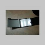 tlačená imitácia nábojov  čierny hrubý látkový opasok so zapínaním na posuvnú kovovú pracku, univerzálna nastaviteľná dĺžka, šírka 37mm