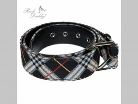 TARTAN - škótske káro šedo-čierno-bielo-červený opasok Materiál: 80 % polyester, 10 % syntetická koža a 10 % kov (pracka) nastaviteľná dĺžka od 80 do 100cm