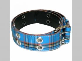TARTAN - škótske káro modro-čierno-biele,  opasok Materiál: 80 % polyester, 10 % syntetická koža a 10 % kov (pracka) nastaviteľná dĺžka od 80 do 110cm