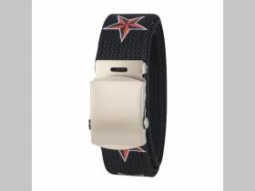 ROCK STARS -  Hviezdy  - čierny textilný opasok, univerzálna nastaviteľná veľkosť max dĺžka 120cm materiál 100% polyester + kovová sona šírka opasku: 3cm