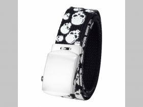 Lebka - smrtka - čierny textilný opasok, univerzálna nastaviteľná veľkosť max dĺžka 120cm materiál 100% polyester + kovová sona šírka opasku: 3cm