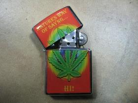 """Ganja """" tráva """" doplňovací benzínový zapalovač s vypalovaným obrázkom"""