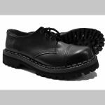 Steadys Obuv, Kožené topánky - polboty 3. dierové čierne s prešívanou oceľovou špičkou