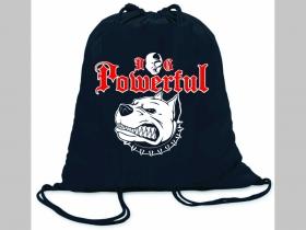 Powerful Dog ľahké sťahovacie vrecko ( batôžtek / vak ) s čiernou šnúrkou, 100% bavlna 100 g/m2, rozmery cca. 37 x 41 cm