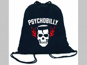 Psychobilly ľahké sťahovacie vrecko ( batôžtek / vak ) s čiernou šnúrkou, 100% bavlna 100 g/m2, rozmery cca. 37 x 41 cm