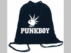 Punkboy ľahké sťahovacie vrecko ( batôžtek / vak ) s čiernou šnúrkou, 100% bavlna 100 g/m2, rozmery cca. 37 x 41 cm
