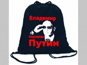 Vladimir Vladimirovič Putin ľahké sťahovacie vrecko ( batôžtek / vak ) s čiernou šnúrkou, 100% bavlna 100 g/m2, rozmery cca. 37 x 41 cm