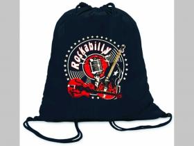 Rockabilly ľahké sťahovacie vrecko ( batôžtek / vak ) s čiernou šnúrkou, 100% bavlna 100 g/m2, rozmery cca. 37 x 41 cm