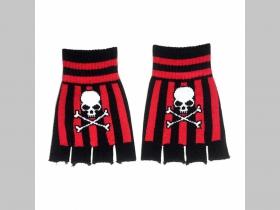 """SKULL - smrtka - lebka - pruhované pletené pružné rukavice """"bez prstov """" farba: čierno-červená, materiál: 80%akryl 20%spandex, univerzálna veľkosť"""