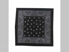 šatka ROCK čierna s rockovým vzorovaním 100%bavlna 52x52cm
