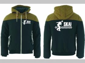 SKA zimná pánska bunda zateplená čierno-olivová s kapucňou