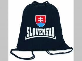 Slovensko  ľahké sťahovacie vrecko ( batoh / vak ) s čiernou šnúrkou, 100% bavlna 100 g/m2, rozmery cca. 37 x 41 cm