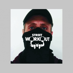 Street Workout čierna univerzálna elastická multifunkčná šatka vhodná na prekritie úst a nosa aj na turistiku pre chladenie krku v horúcom počasí