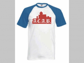 A.C.A.B. Trenčín pánske modrobiele tričko 100%bavlna značka Fruit of The Loom (viacero motívov na výber)