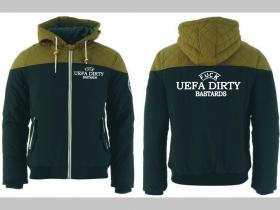 Fuck UEFA Dirty Bastards zimná pánska bunda zateplená čierno-olivová s kapucňou