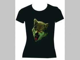 Vlk, čierne dámske tričko Fruit of The Loom 100%bavlna