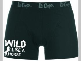 Wild Like a Horse čierne trenírky BOXER s tlačeným logom, top kvalita 95%bavlna 5%elastan