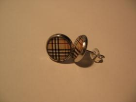 Škótske káro béžové, náušnica, priemer 0,9mm (cena za 1ks!)