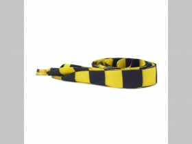 žltočierne pruhované šnúrky širšie, ploché šnúrky do topánok dĺžka 110cm šírka 1,9cm materiál:100%polyester